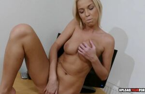 Buxom ash-blonde displays off her solo..