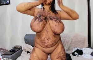 Nasty messy big-boobed plus-size stunner