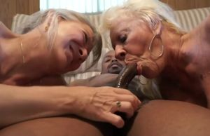mature grandmothers share big black..