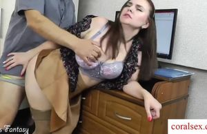 Wifey cuckold on hubby at work with..