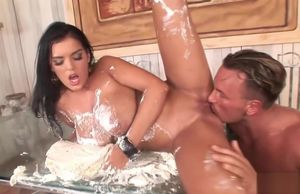 Jasmine Dark-hued gets jizz all over her