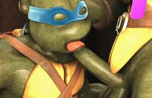 Three dimensional toon ninja turtle..