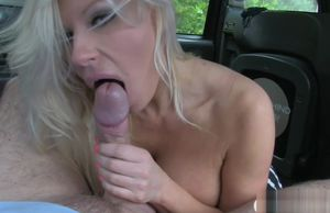 Huge-boobed woman gets beaver and..
