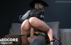 Overwatch ashe getting hard-core rump..